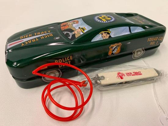 Dick Tracy 75th. Anniversary Knife In Tin Cop Car W/Graphics