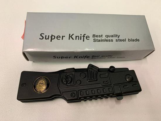 "Tac-Force ""Law Enforcement"" Folding Knife W/Gunstock Handle-Mint In Box"