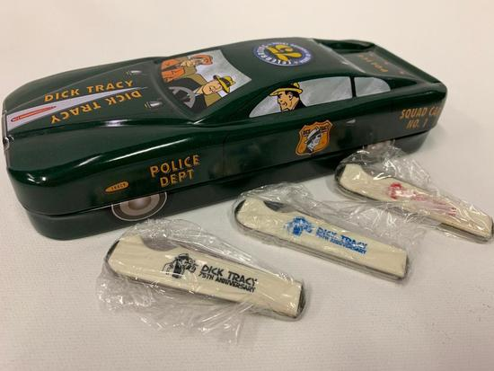 Dick Tracy 75th. Anniversary 3 Knife Set In Tin Cop Car-Mint