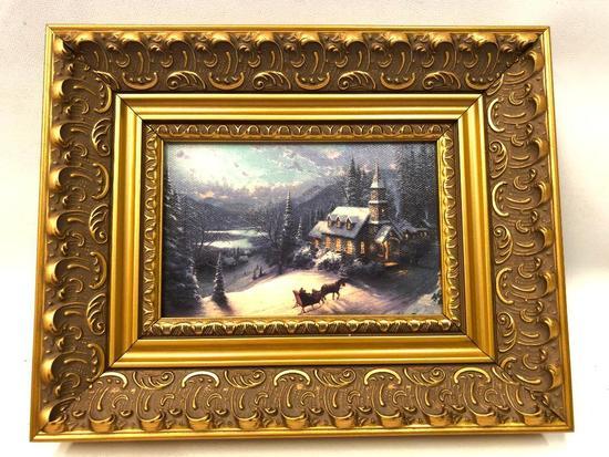 Thomas kinkade Framed Print On Canvas-Mint In Box