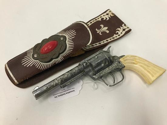 Vintage Pony Boy Cap Gun In Leather Holster