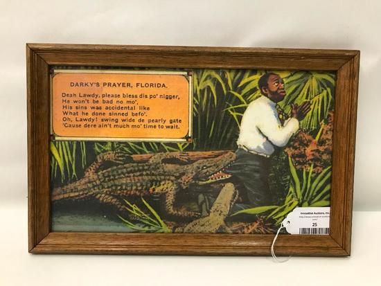Framed Print Of Praying Man & Hungry Alligator