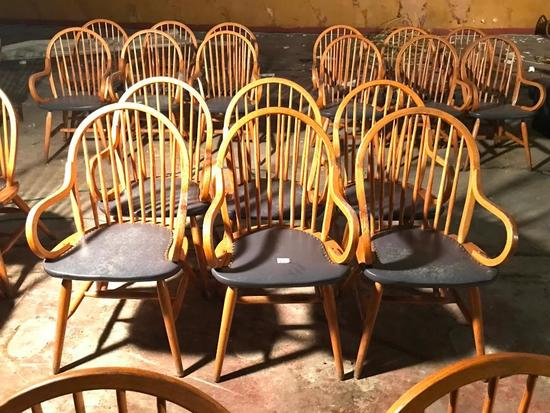 (6) Oak Arm Chairs With Curved Backs & Padded Seats