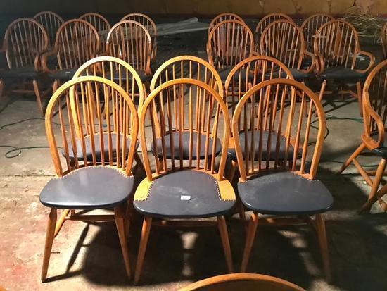 (6) Oak Chairs W/Curved Backs & Padded Seats