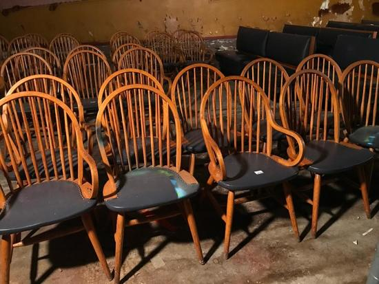 (10) Oak Chairs W/Curved Backs & Padded Seats-(3) W/Arms & (7) W/Out