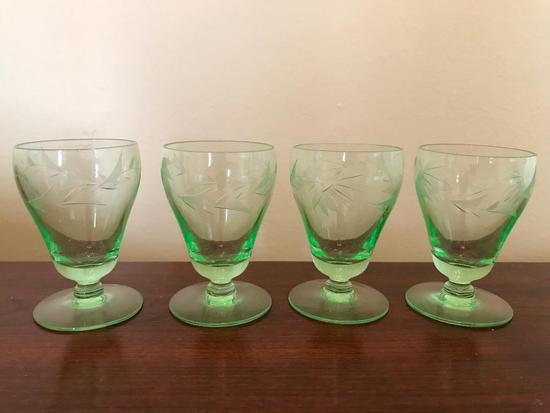 (4) Green Depression Etched Cordials