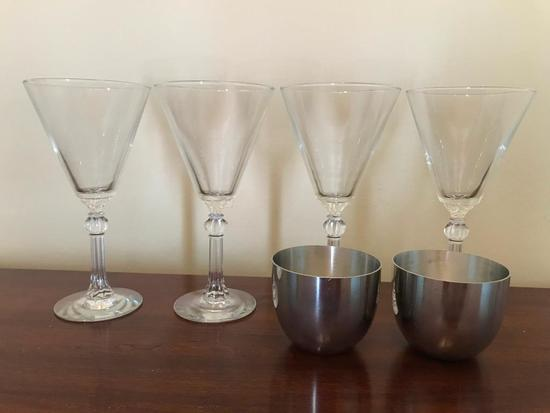 (4) Glass Champagnes & (2) Kirk Pewter Derby Cups