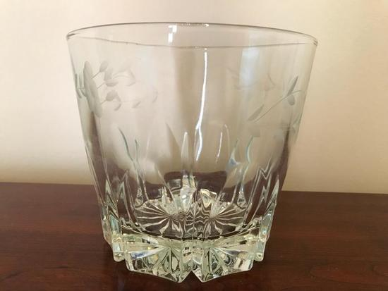 Vintage Glass Ice Bucket W/Etched Design
