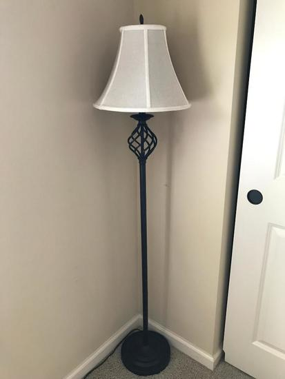 Contemporary Iron Floor Lamp W/Cloth Shade