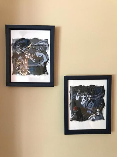 "(2) Jazz/Music Prints By Evangelia Titled ""Love Is Blue"" & ""Mood Indigo"""