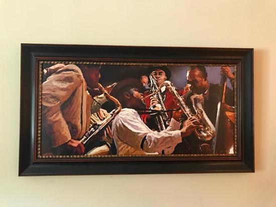 Large Contemporary Framed Oil On Canvas Of Jazz Band
