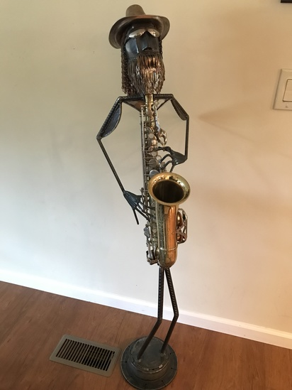 "55"" Tall Metal Sculpture with Saxaphone"