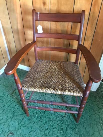 Antique Cherry Arm chair W/Woven Seat & Horizontal Slats