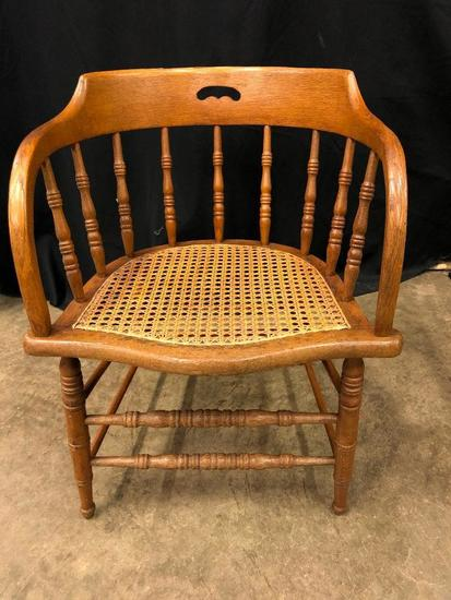 Rattan Bottom, Oak, Spindle Back Chair