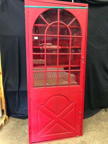 Painted Red, Corner China Cabinet