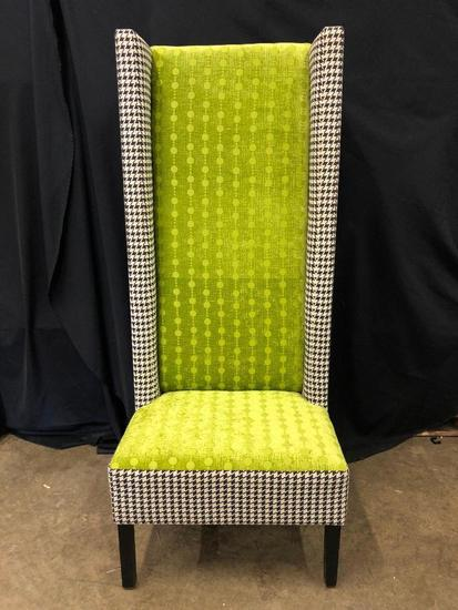 Interesting Chevron Pattern and Green Chair with Very High Back