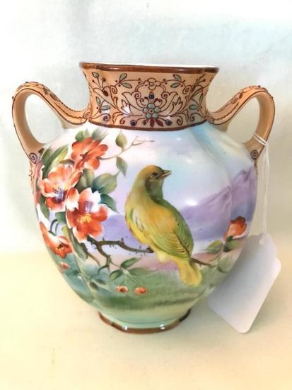 Noritake Hand Painted Vase W/Birds