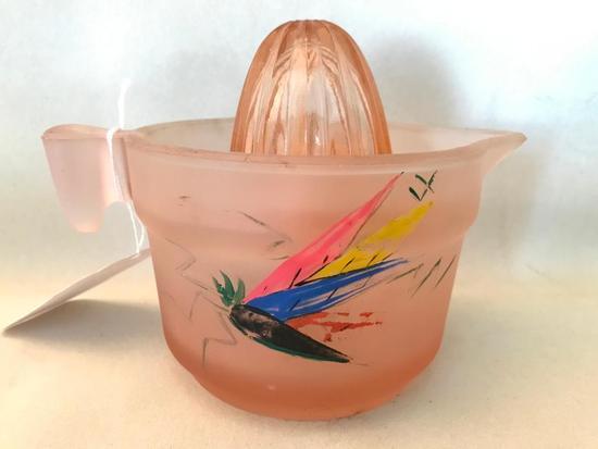 Vintage Pink Depression Glass Juicer