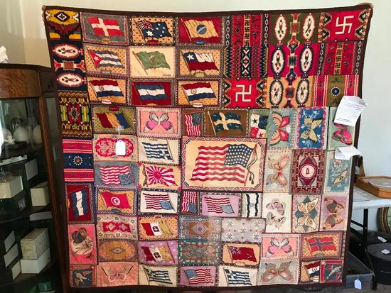 Very Unusual Antique Quilt Made From Cigar Silks