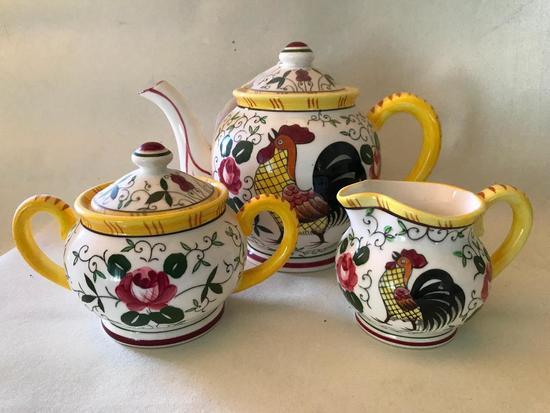 1960's Japan Ceramic Teapot W/Matching Cream & Sugar