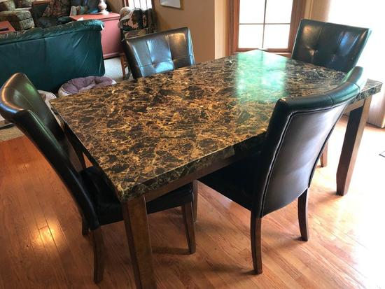 5-Piece Dinette Seta W/Faux Marble Top Table & (4) Chairs