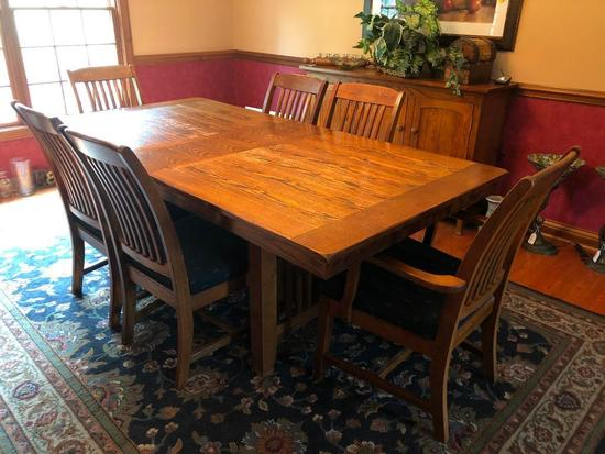 Oak Trestle Type Dining Room Table W/(6) Chairs & (1) Leaf