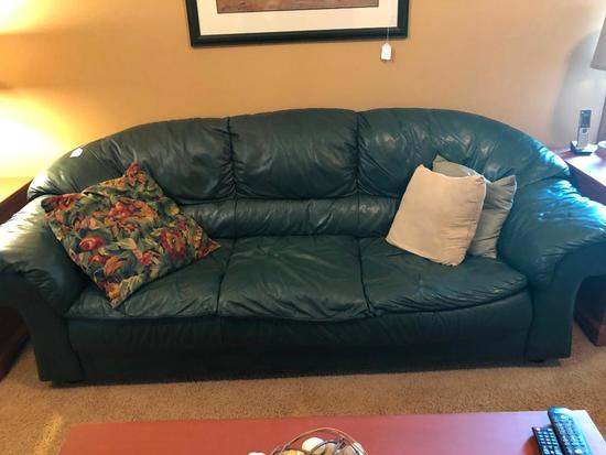 Leather Couch W/Decorator Pillows