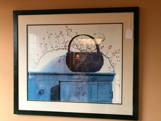 Framed & Matted Country Basket Print By Pauline Eble Campbell