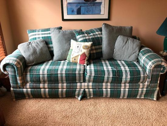 Kroehler Upholstered Couch W/Decorator Pillows