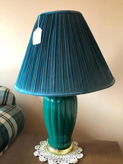Contemporary Decorator Lamp W/Cloth Shade
