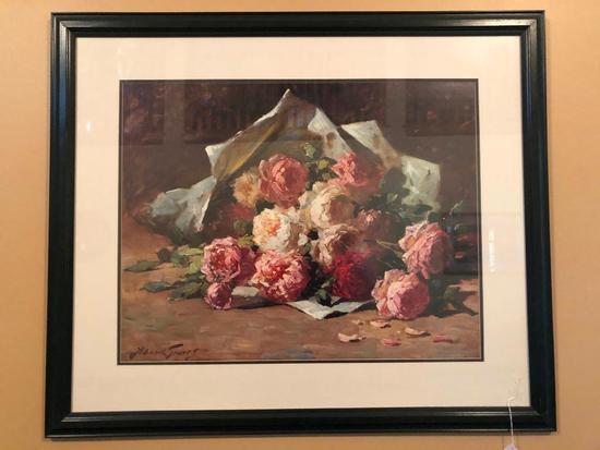 Framed & Matted Still Life Of Roses