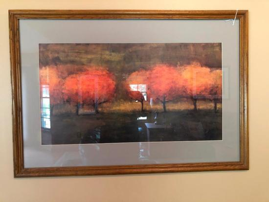 Framed & Matted Decorator Print Of Trees