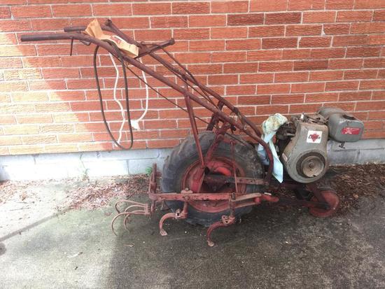 Antique Clinton Rear Tine Plow W/4-Cycle Clinton Engine