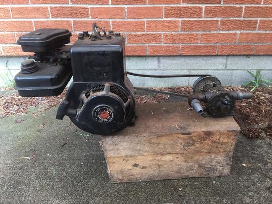 Vintage Briggs & Stratton 2 HP Motor W/Pump On Wood Frame