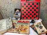 Group of Mad Magazine Books and Game, A Top, PS3 Game and Tarot Cards