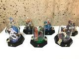 Group of 7 Franklin Mint Star Trek, Miniature Sculptures Under Dome, Miniature, Approx. 5 Inch Tall