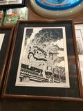 1989 Marvel Comics, Michael J Zeck Punisher Print, Planche 4, Frame Measures 16