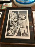 1989 Marvel Comics, Michael J Zeck Punisher Print, Planche 6, Frame Measures 16