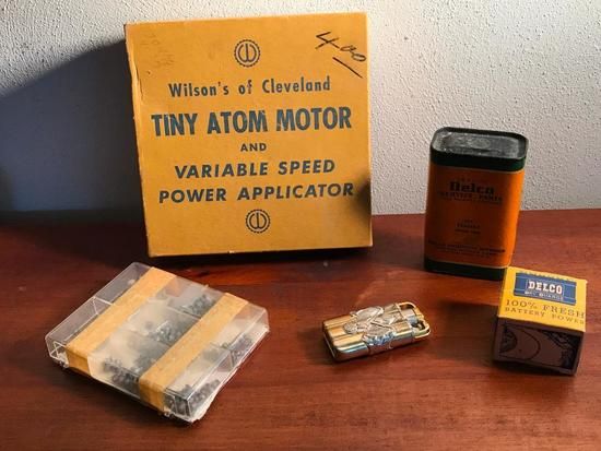 Vintage Tiny Atom Toy Motor In Box + Misc. Items