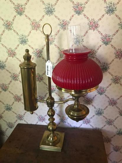 Vintage Electric Student Lamp W/Brass Base & Glass Shade