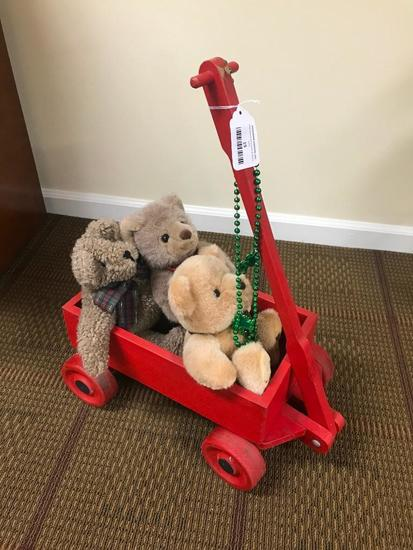 Painted Red Wooden Wagon W/Bears