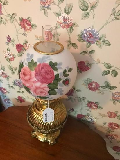 Vintage Brass Lamp W/Hand Painted Shade