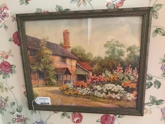 Vintage Framed Print Of Cottage Scene By Sidney Winder