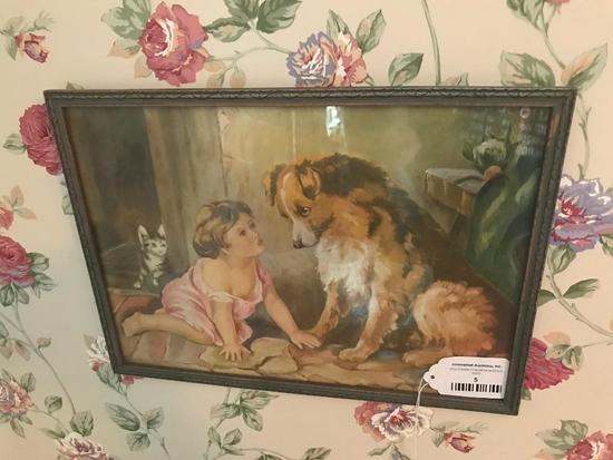 Vintage Framed Children's Print Of Girl W/Her Dog & Cat