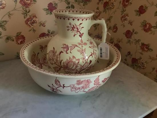 Transfer Ware Pitcher and Bowl Set