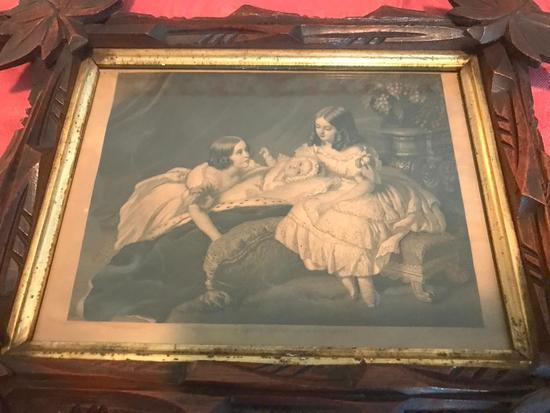 Framed Victorian Print In Walnut Criss-Cross Frame