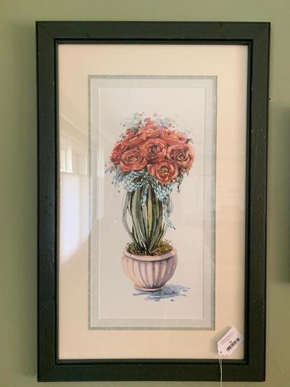 Floral Print Is Framed & Matted
