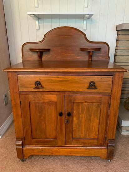 Wooden Washstand W/Splash Back & Candle Holders