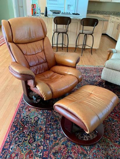 Lane Furniture Leather Euro Chair W/Ottoman