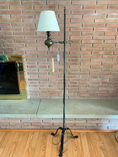 Vintage Adjustable Iron Floor Lamp W/Shade